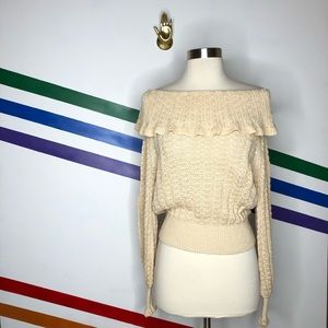 NEW Free People linen blend off shoulder sweater
